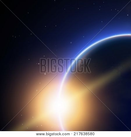 Space background decorative poster with light from behind of the earth planet and beautiful glossy line as tail of a comet vector illustration