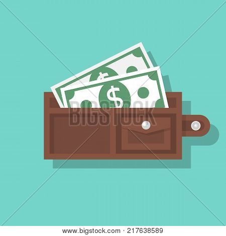 Opened wallet isolated on background. Money in purse. Cash payment. Vector illustration flat design.