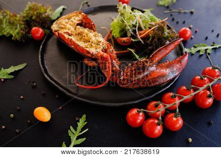 ready made stuffed lobster restaurant dish concept. proper nutrition. lifestyle of high society.