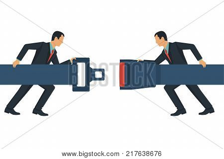 Safety First concept. Seat Belt. Two businessmen in a suit fasten buckle hands. Safety of movement on car, airplane. Vector illustration flat line design. Protection driver and passengers.