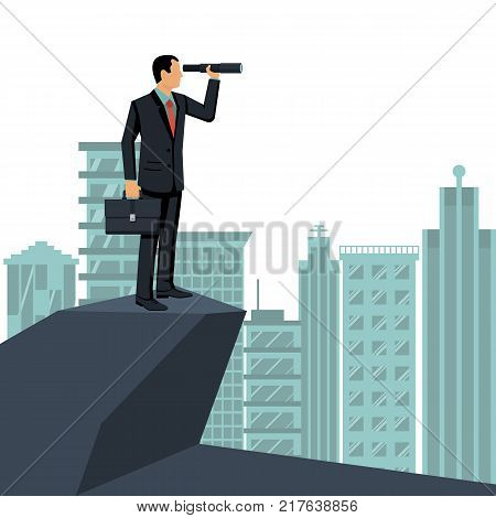 Looking on telescope standing on background big city. Vector flat design. Business challenge search way to success goal. Visionary concept. Symbol leadership. Businessman in suit with briefcase.