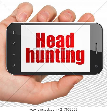 Finance concept: Hand Holding Smartphone with red text Head Hunting on display, 3D rendering