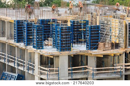 The reinforcement slab building. Floor slab. Stage of construction apartment building. poster