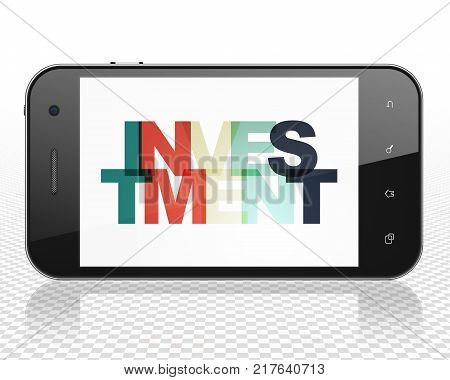 Finance concept: Smartphone with Painted multicolor text Investment on display, 3D rendering