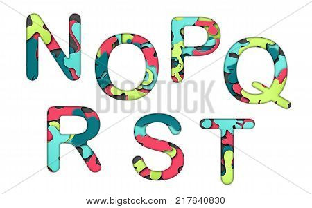 Set of letters font n, o, p, q, r, s, t. Multilayer colorful letters. Paper art carving. Creative typography characters.