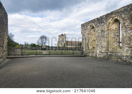 BATTLE ABBEY, BATTLE, EAST SUSSEX, UK, 13TH APRIL 2017 - Battle Abbey remains and St Mary's Church Battle Sussex England UK