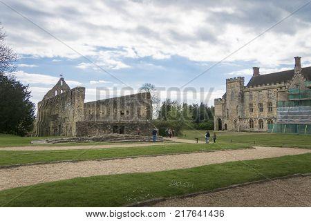 BATTLE ABBEY, BATTLE, EAST SUSSEX, UK, 13TH APRIL 2017 - Battle Abbey remains and the rear of Battle Abbey School Battle Sussex England UK