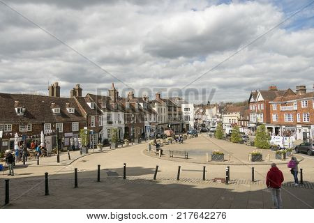 BATTLE, SUSSEX, UK, 13TH APRIL 2017 - View of the High Street Battle Rother Sussex UK