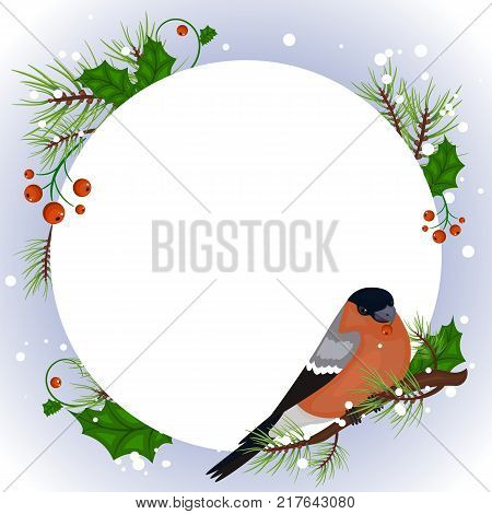 Vector Christmas banner with bullfinch and white snowflakes. Stock vector.