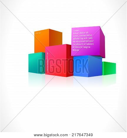 Colored cubes of different sizes on a white background. You can use your design and advertising.