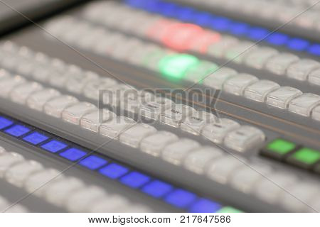 Video Production Mixer of Television Program Broadcasting signal in TV Studio
