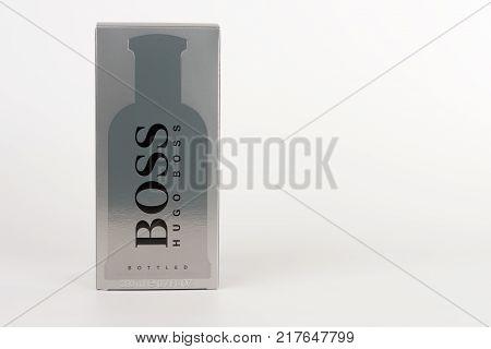 Brnenec, Czech Republic-December 5,2017: Box of EDT for men Hugo Boss Boss Botled on white background.