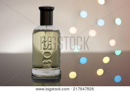 Brnenec, Czech Republic-December 6,2017: Bottle of EDT for men Hugo Boss Boss Botled lights on background.
