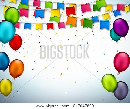 Vector holiday banner with confetti, multi colored balloons. Greeting card with colorful garlands of flags, festive bunting and air balloons. Celebration background for invitation, festival, birthday