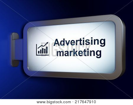 Advertising concept: Advertising Marketing and Growth Graph on advertising billboard background, 3D rendering