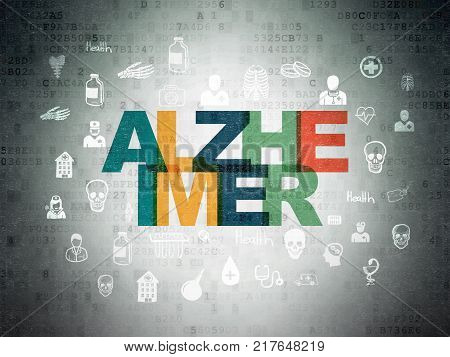 Healthcare concept: Painted multicolor text Alzheimer on Digital Data Paper background with  Hand Drawn Medicine Icons