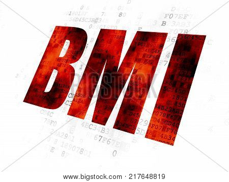 Health concept: Pixelated red text BMI on Digital background