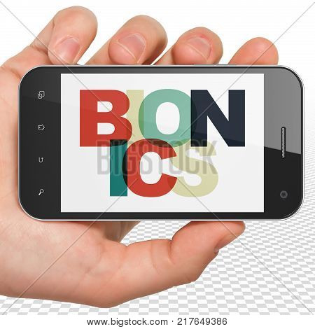 Science concept: Hand Holding Smartphone with Painted multicolor text Bionics on display, 3D rendering