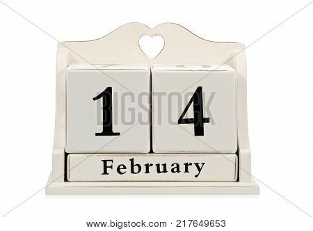 Art calendar of rollover cubes with the date of February 14 - Valentine day, isolated on white background