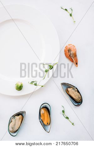 negative space seafood advertisement concept. empty white plate. traditional asian food. negative space