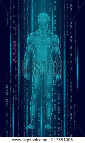Humanoid android man standing cyberspace binary code. Robot artificial intelligence low poly polygonal human body fitness shape. Mind internet network vector abstract blue illustration art