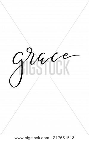 Hand drawn lettering. Ink illustration. Modern brush calligraphy. Isolated on white background. Grace text.