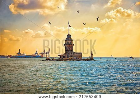 Maiden's Tower or Kizkulesi in Istanbul during sunset. Leander's Tower - medieval building and lighthouse on Bosphorus. Turkye