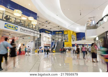 Smut Prakan Thailand - December 102017 : Front shop of IKEA Bangkok Store in Mega Bangna Samut Prakan Thailand. Ikea is the world's largest furniture retailer store.Ikea is a slef service furniture store.