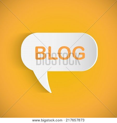 Illustration of a Blog chat bubble on a colorful orange background.