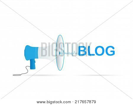 Illustration of a megaphone and the word BLOG isolated on a white background.