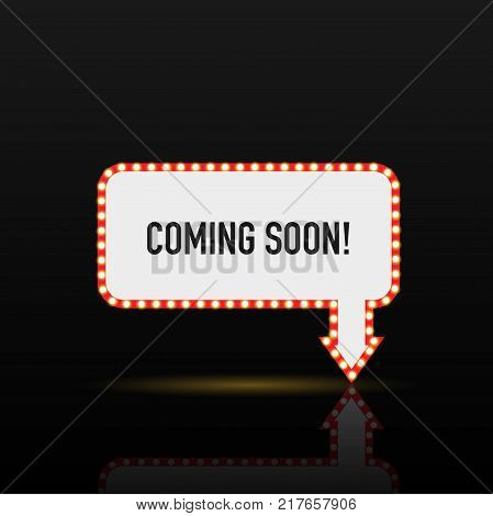 Illustration of a Coming Soon sign with light bulbs against a dark background.