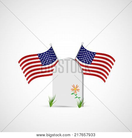 Illustration of a gravestone and USA flags isolated on a white background.