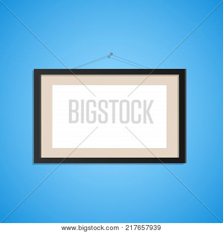 Illustration of a hanging picture frame on a colorful blue background.