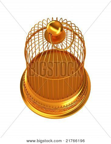 Confinement: Golden Birdcage Isolated