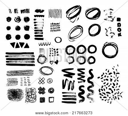 Hand-drawn brush raw textured shapes. Black ink random hand drawn scribbles set isolated on white background. Vector illustration.