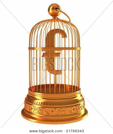 Euro Currency Symbol In Golden Birdcage