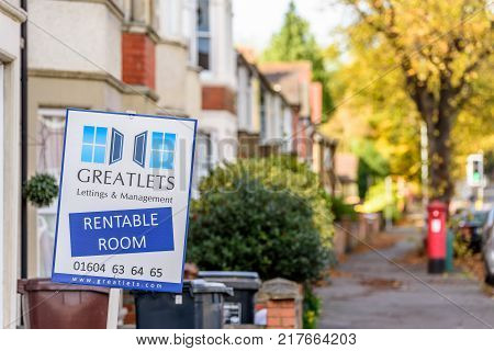 Northampton, UK - 29 OCTOBER 2017: Day view shot of Estate Agent Stand of Greatlets Room To Let.