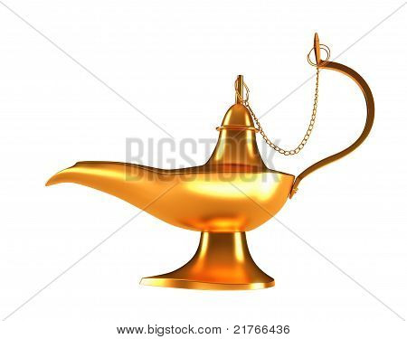 Genie Golden Lamp Isolated On White