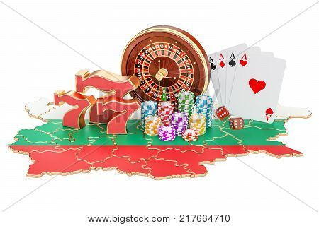 Casino and gambling industry in the Bulgaria concept 3D rendering isolated on white background