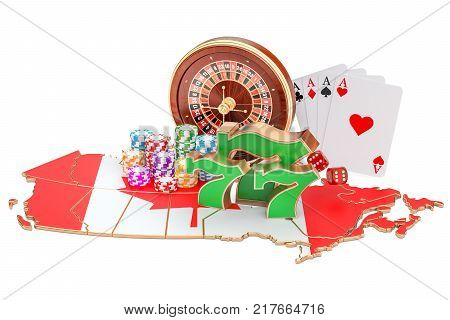 Casino and gambling industry in the Canada concept 3D rendering isolated on white background