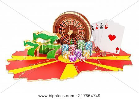 Casino and gambling industry in the Macedonia concept 3D rendering isolated on white background