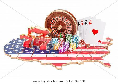 Casino and gambling industry in the USA concept 3D rendering isolated on white background