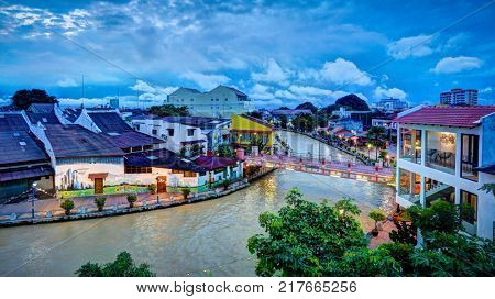 MALACCA MALAYSIA SEPTEMBER 20 2017: River scene in Malaysia's colorful and historic World Heritage City, Melaka
