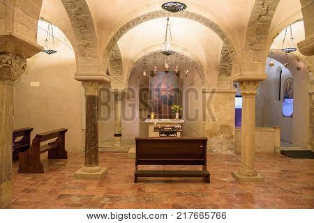 Bari Italy - September 2 2016: Painting in the crypt of the Basilica of Saint Nicholas in Bari