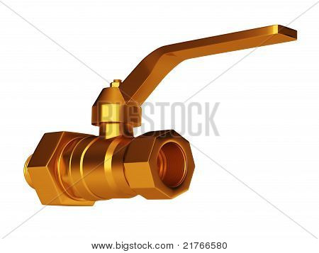 Golden Gate Valve Isolated Over White