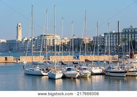 Panoramic view of the port of Bari Apulia Italy