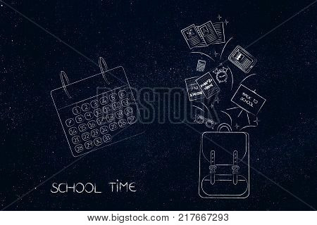 school time concept: backpack with education-related items flying out of it next to a calendar