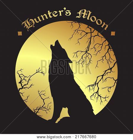 Silhouette of wolf howling at the full hunter's moon vector illustration. Pagan totem wiccan familiar spirit art.