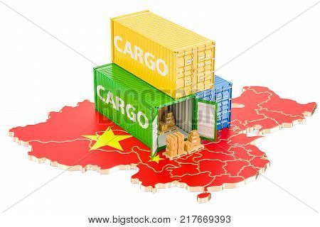 Cargo Shipping from China isolated on white background