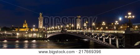 The panoramic view of famous Alexandre III bridge at night in Paris, France